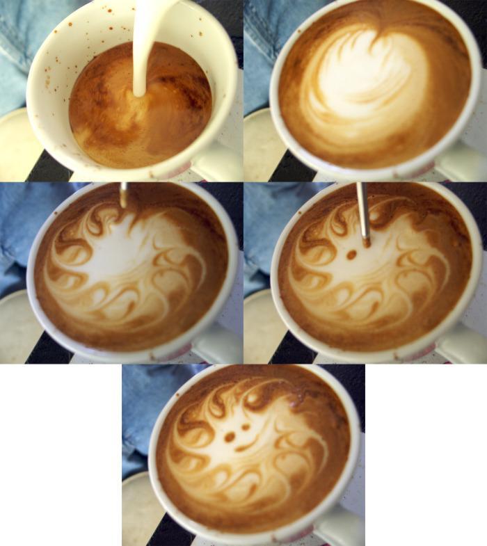 Как рисуют картинки на кофе