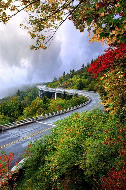 Самый экологически чистый мост Linn Cove Viaduct (16 фото + 2 видео)