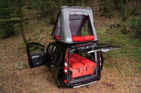 Кухня, душ, кровать в багажнике автомобиля (18 фото)